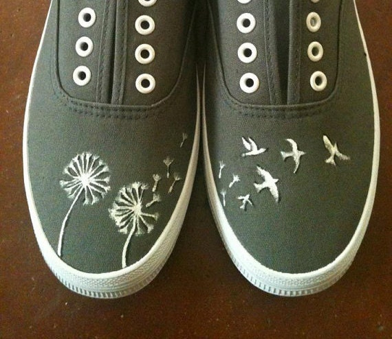 Hand Painted Shoes - Dandelions and Birds