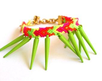 Lime Spikes Friendship Bracelet.