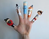 Pinocchio Hand Drawn Paper Finger Puppets By Curmilla, Printable PDF,Pinocchio,fairy,mangiafuoco,the cat,the fox