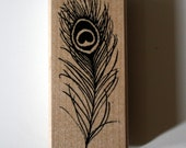 Peacock Bird Feather Rubber Stamp for Crafting