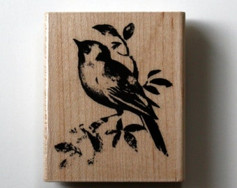 Bird on Branch Rubber Stamp for Crafting
