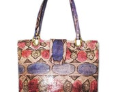 "Rare VARON Vintage Snakeskin Tote Handbag Size 12"" Stylish Authentic Collectible"
