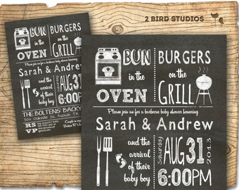BBQ Baby shower invitation - Baby Q bbq baby shower invite -  DIY barbecue co-ed couples shower printable invite