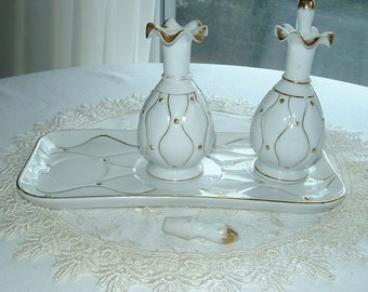 Vintage porcelain boudoir set,Japan,tray and bottles