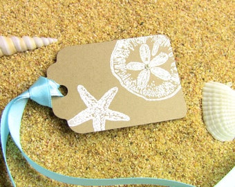 10 Handmade Sand Dollar and Starfish Favor Tags, Gift Tags - Beach Weddings, Showers, Parties, Customize Any Color