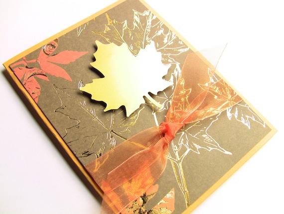 Items similar to Handmade Thanksgiving Card, Fall Card, Autumn ...
