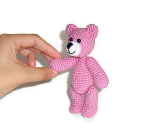 Amigurumi Llittle Crochet Pink Teddy Bear