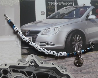 I Love Volkswagens Blue & Black Bracelet