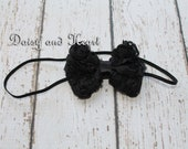 Black bow headband, Newborn headband, baby girl headband, baby flower headband, shabby flower headband, toddler headband