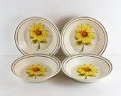 vintage arklow pottery cereal bowl, dessert bowl. yellow flower.