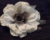 white silk bridal flower hair clip with soft grey feather accents