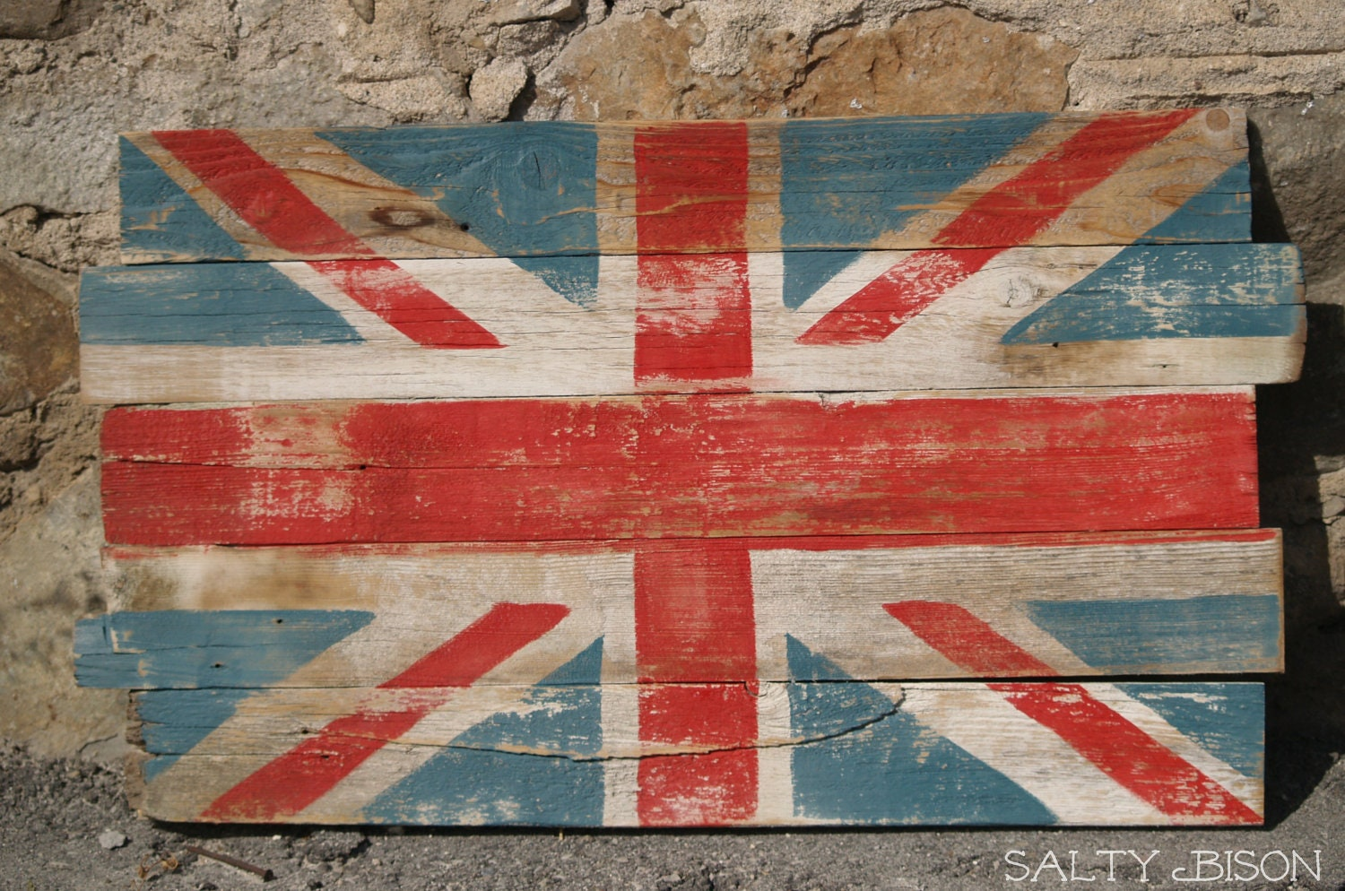 Handpainted Reclaimed Wooden Union Jack Sign