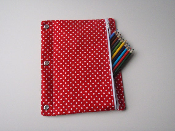 Red and White Polka Dot Pencil Pouch / Zippered 3-Hole Binder Pencil Case