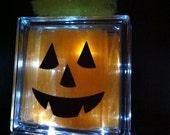 Glass Block Halloween Lighted Pumpkin