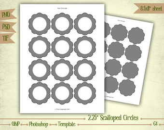 "2.25"" Scalloped Circles - Digital Collage Sheet Layered Template - (T064)"