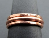 Copper Stacking Rings, Set of 3, Hammered Organic Copper Jewelry, Modern Woman's Rings, Minimalist Jewelry