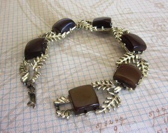 Vintage Coro Brown Thermoset Square Cut Bracelet with Gold Leaves, Fall Bracelet, Designer Fall Bracelet, Birthday, Anniversary Gift For Her