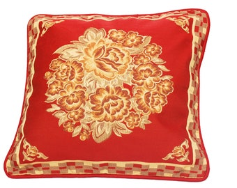 Maroon Throw Pillow, Red Throw Pillow Cover, Floral Pillow, Decorative Cushion, Home Decor, Red and Brown, Elegant, Durable- 'Blooming Red'