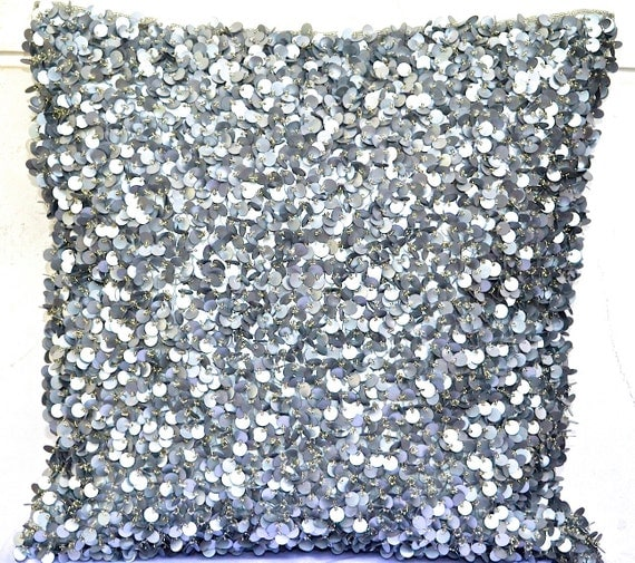 Silver Decorative Bed Pillows : Sequin Throw Pillow Silver Throw Pillow Glitter Pillow