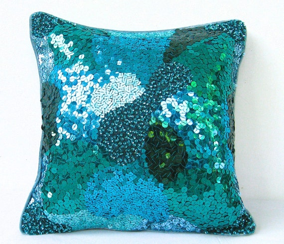 Decorative Pillows With Sequins : Teal Green Sequin Pillow Green Throw Pillow Emerald Pillow
