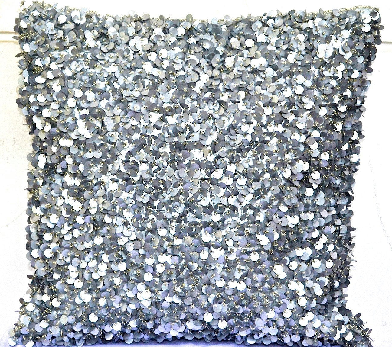 Decorative Pillows With Sequins : Sequin Throw Pillow Silver Throw Pillow Glitter Pillow