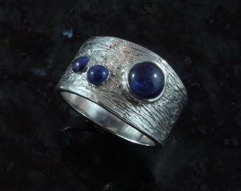 Whirlpool sapphire fine silver ring - available by custom order