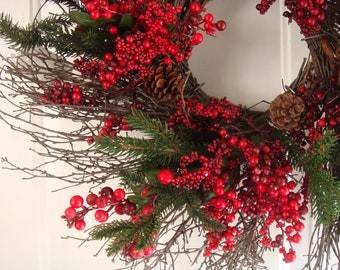 Christmas wreath, holiday wreath, Christmas door wreath, red berry twig wreath, Christmas decoration, holiday door wreath