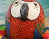 Red Parrot Hand Painted OOAK Rock Sculpture