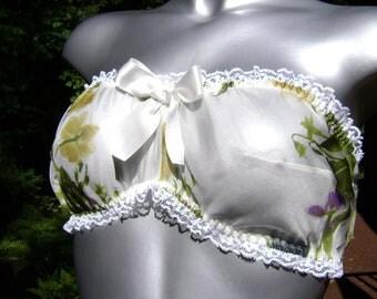 """White Silk Lingerie Bralette """"Adrianna"""" Iridescent  Floral Silk Chiffon Bandeau Slumber Bra"""