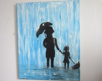 original oil painting - hand painted art - blue artwork - rain painting - fathers day gift - father daughter - silhouette canvas - modern