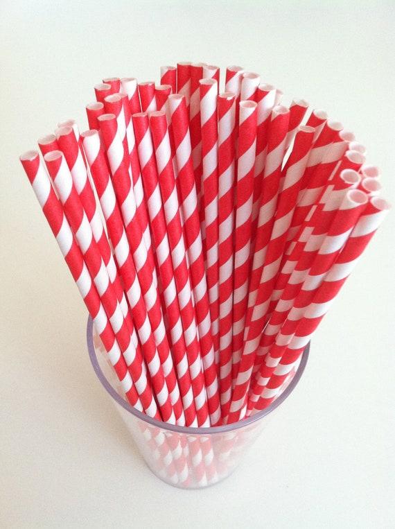PAPER STRAWS (25 Red & White)