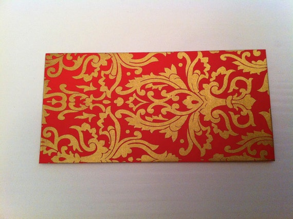 5 red and gold decorative envelopes damask design decorative stationery red envelopes - Decorative Envelopes