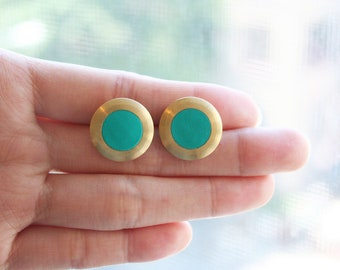 Large Circle with turquoise circle stud earring
