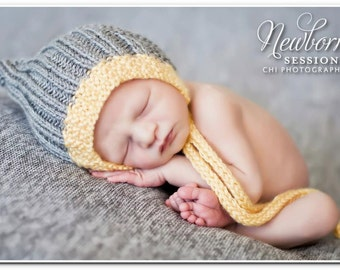 Newborn knitted Baby bonnet Pixie Elf Hat perfect for Photography Props