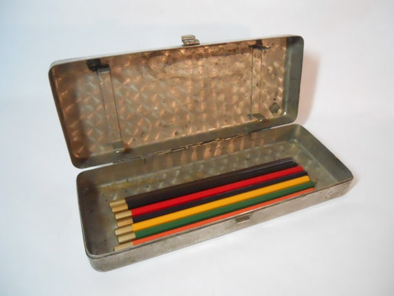 Vintage metal box industrial storage pencil case art supplies