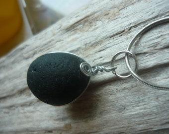 RARE Black Beach Glass Necklace