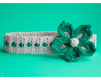 CROCHET PATTERN  'Periwinkle' flower headband - by GloriousUnique, Flower crochet headband pattern