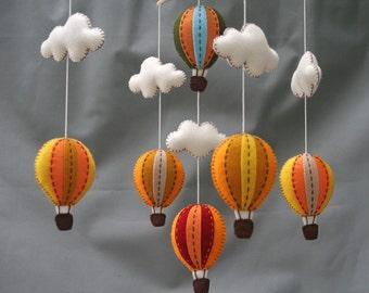 Autumn hot air balloons baby mobile- Tuscany - hot air balloons