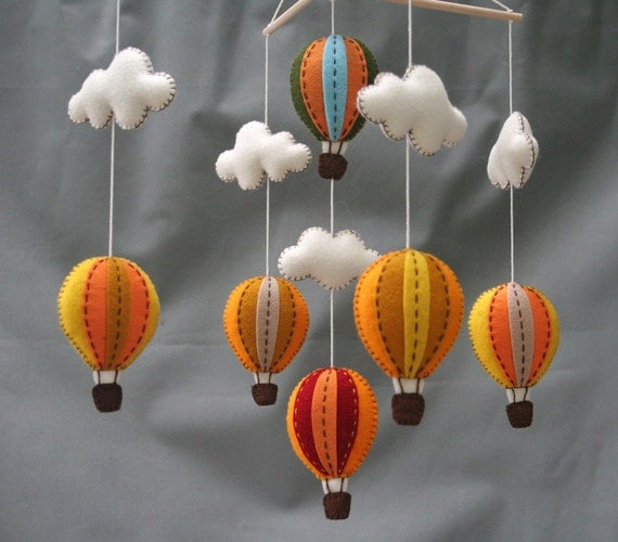 Autumn hot air balloons baby mobile- Tuscany - hot air balloons
