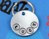 SMALL Dog or Cat Tag - Handstamped Aluminum Pet Tag - Personalized - Other Metals Available