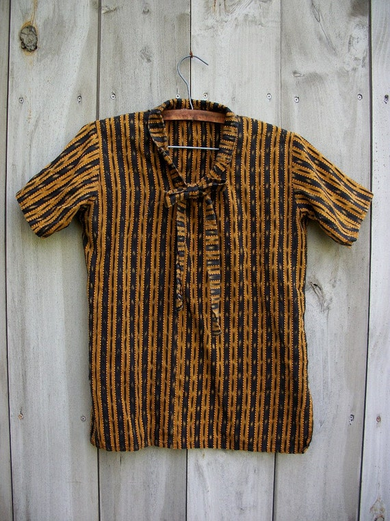 Reserved for Leigh - Yellow and black ikat cloth top with pussy bow