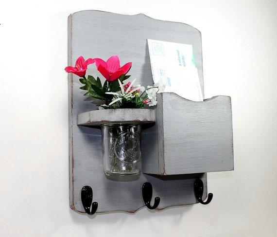 Mail organizer floral vase mail holder key hooks vintage - Key hook and mail holder ...