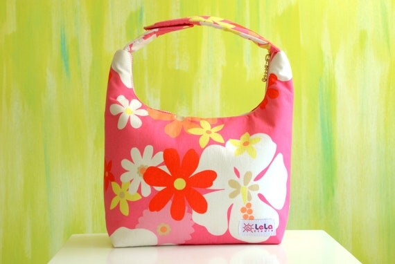 Lunch Bag Insulated, Girls Lunch Bag, Pink Lunch Bag, School Lunch Bag, Rosy Pink, Bright Pink, Cheerful Daisy Flower