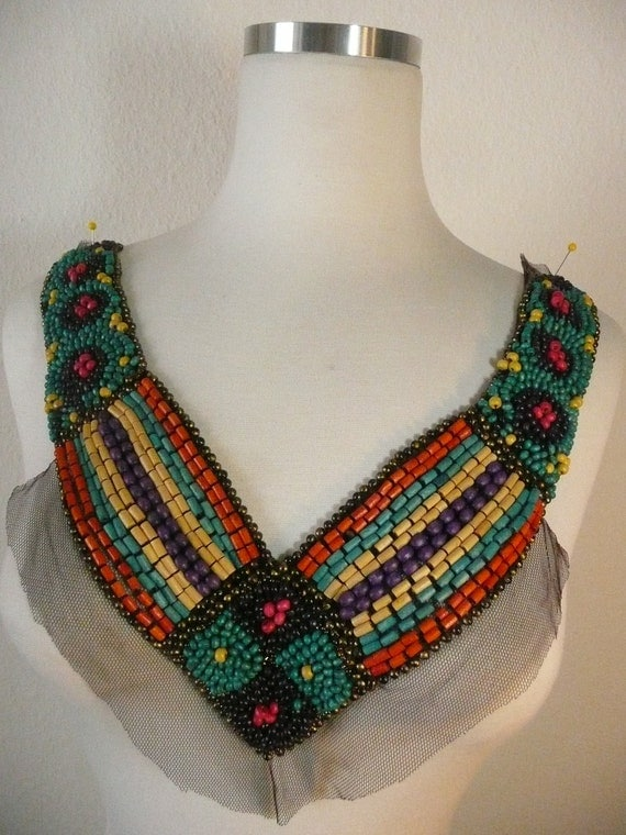 Beautiful colorful wood beads neck V neck applique on black mesh fabric