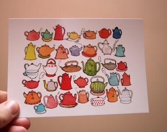 Teapots -  Postcard