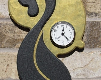 Unique Wall Clock Textured Gold on Pewter Metallic