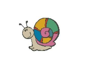 Cross stitch pattern PDF Rainbow snail Instant Download