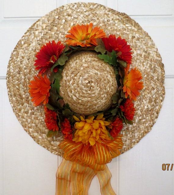 Autumn Hat:  Hat Wreath, Fall Wreath, Autumn Wreath, 17 Inches Wide,  Straw hat. Front Door Wreaths. Mums. Gerbera Daisies. Fall.