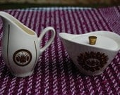 Georges Briard Creamer and Sugar with Lid and Brass Finial Vintage Set - Gold and Brown Crown Pattern on White