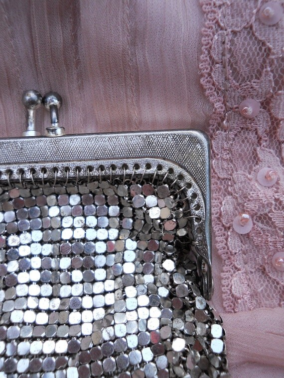 SALE 1920's French Change Purse- Delicate Silver Mesh
